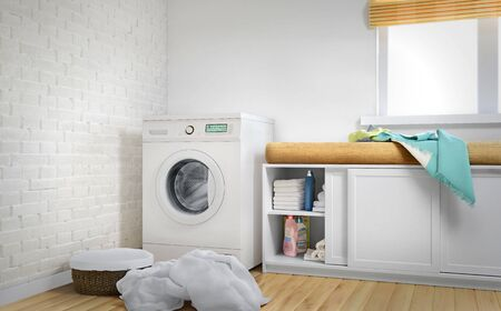 Laundry room, linen, white Brick wall and wood floor. 3d illustration