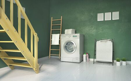 Laundry room, stairs and green wall. 3d illustration