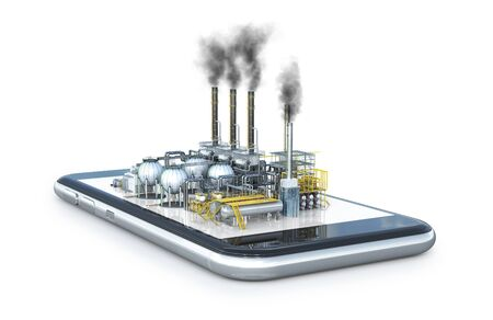 factory is located on a smartphone. 3d illustration Reklamní fotografie