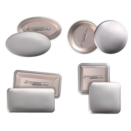 Vector. Mock Up. Set badge pin brooch of round, rectangular, oval, square shapes in silver color. Realistic illustration isolated on white background.