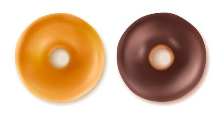 Sweet tasty donuts isolated on white.