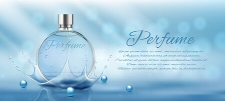Perfume glass bottle light blue package design on blue background with glittering bokeh elements in vector illustration