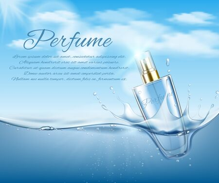 Cosmetic bottle on water background with air bubbles. Vector illustration