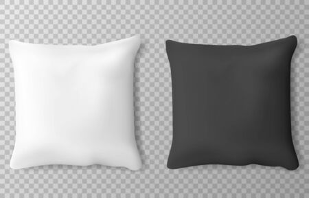 Vector realistic white and black pillows