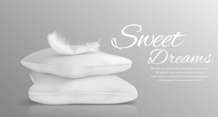Fluffy feather and white pillows isolated in realistic style monochrome vector illustration Stok Fotoğraf - 129490327