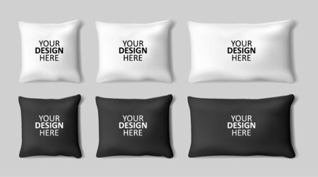 Vector realistic 3d white and black pillow set closeup isolated on gray background.