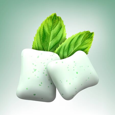 Vector chewing gum and green mint for fresh breath. Realistic vector illustration Ilustrace