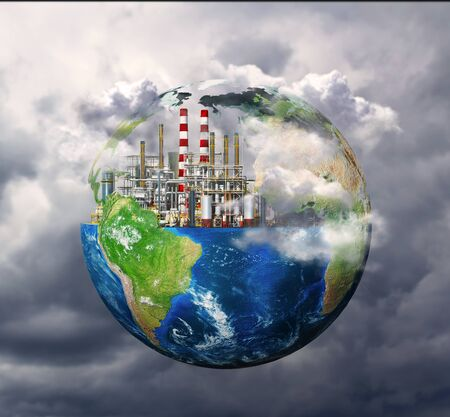 Factory. The concept of global disaster. 3d illustration