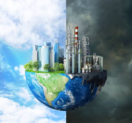 concept of global disaster. The contrast between pure nature, bright sky, trees and polluting cities, with large buildings and plants destroying the ecology of our planet. 3d illustration