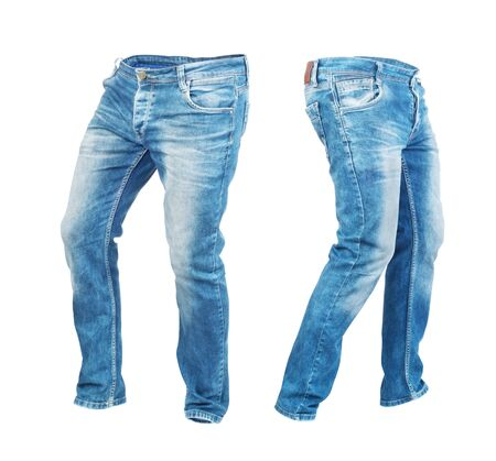 Blank jeans pants leftside and rightside isolated on a white background Stock Photo