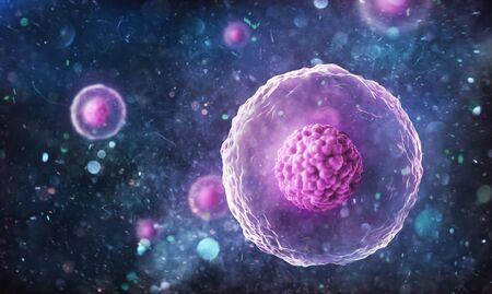 Human (animal) cell under microscope. 3d illustration