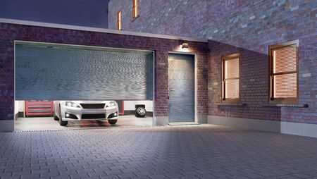 Garage entrance with open sectional doors. 3d illustration Standard-Bild