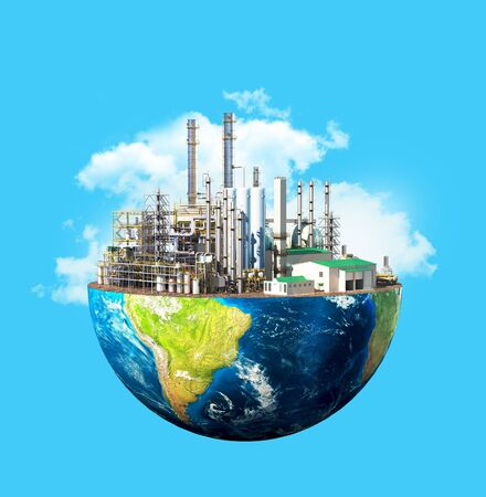 Environmental pollution concept. Plant on planet Earth isolated on a blue background. 3d illustration