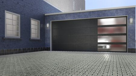 Garage entrance with sectional doors. 3d illustration