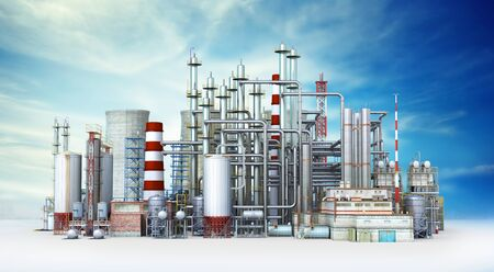 Factory Outside Isolated on sky background. 3d illustration 스톡 콘텐츠