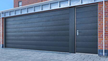 Entree garage met sectionale poorten. 3d illustratie Stockfoto