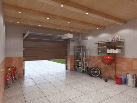 Garage interior with open door, 3d illustration