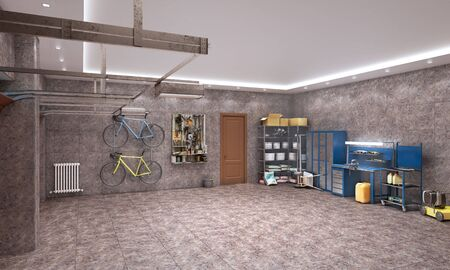 Large garage with brown marble tiles, 3d illustration 写真素材