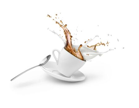 coffee and milk splash in white cup isolated
