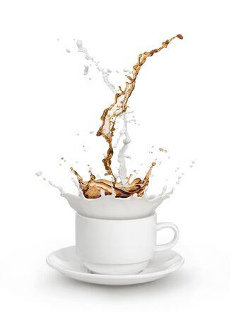 milk coffee splash in white cup isolated Stock Photo