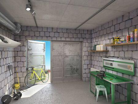 Garage interior with open door, 3d illustration