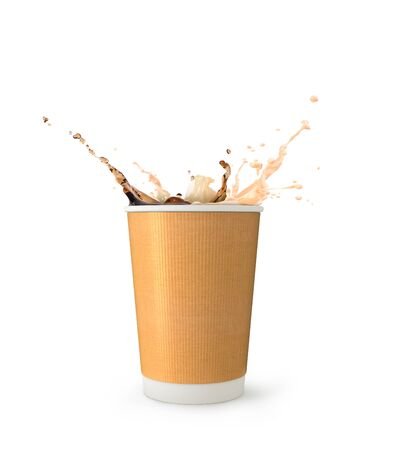 coffee and milk splash in paper coffee cup for to go isolated