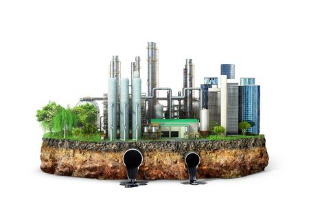 Factory. The concept of global disaster. Earth with geological soil cross section, 3D illustration