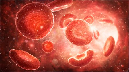Medical human health-care. Red blood cells in an artery, flow inside body. 3d Illustration Imagens