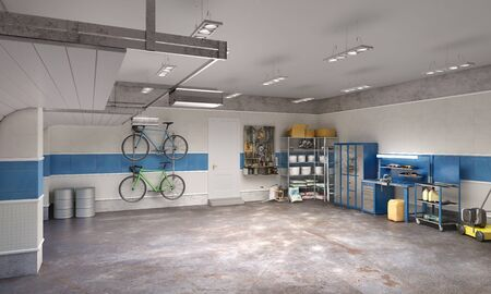 Large garage in whie and blue tones, 3d illustration 写真素材