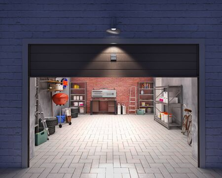 Garage with open door, look outside at night, 3d illustration Imagens