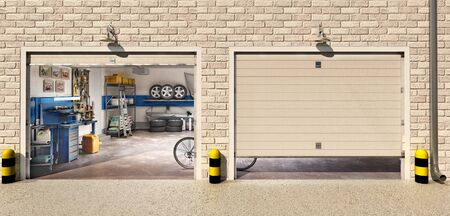 Garage with two roller doors, look outside, 3d illustration Zdjęcie Seryjne