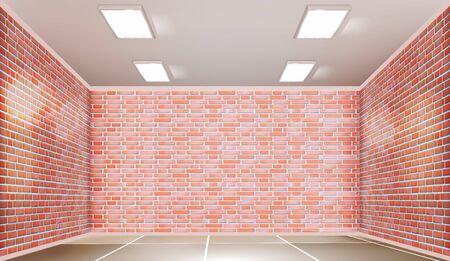 Garage room. Brick walls. Vector illustration.