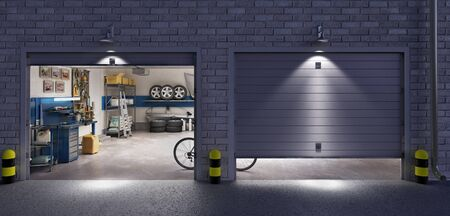 Garage with two roller doors, look outside at night, 3d illustration