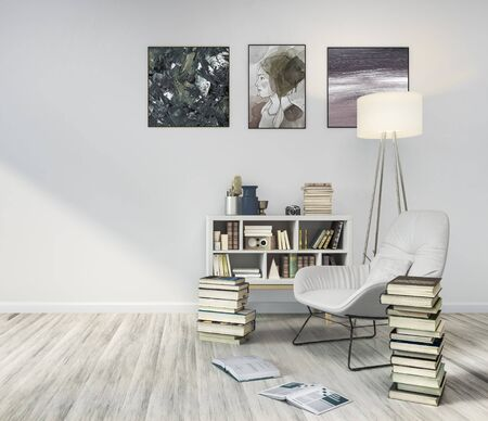 Reading room, 3d illustration