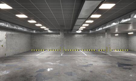 Empty underground parking, 3d illustration Фото со стока