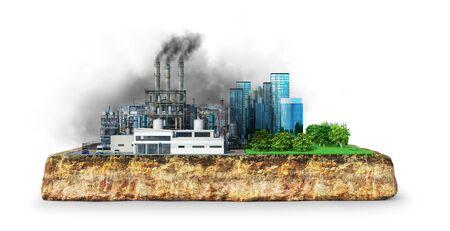 factory, environmental impact concept. 3d illustration 스톡 콘텐츠