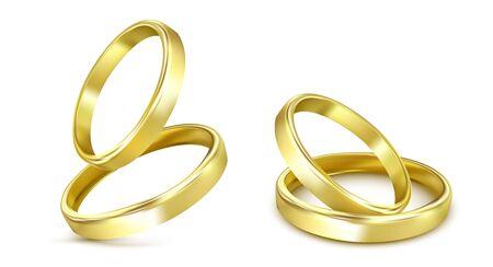 anneaux de mariage en or isolés sur blanc Vecteurs