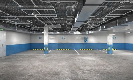 Empty underground parking in blue and white tones, 3d illustration Banque d'images - 130989431