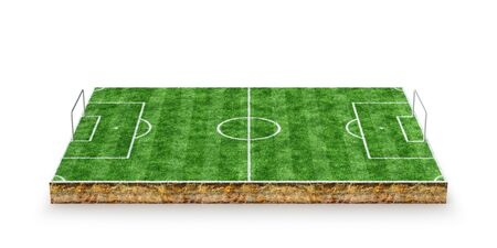 Football, soccer pitch. 3D Rendering Banque d'images - 130989557