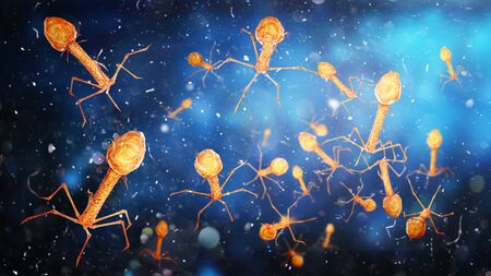 Microbiology concept. Bacteriophages on a blurred background. 3d illustration