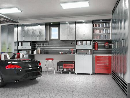 Modern Garage Interior 3d Illustration Stock Photo Picture And Royalty Free Image 130989647