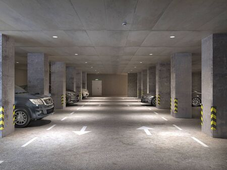 Underground parking area with concrete columns and cars, 3d illustration