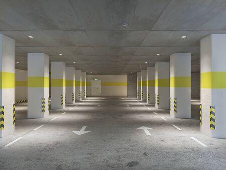 Empty illuminated underground parking, 3d illustration 写真素材