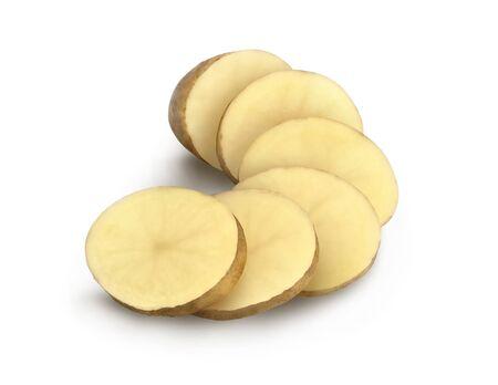 potatoes chopped 19 on white background
