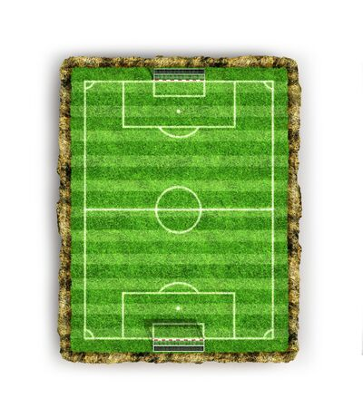 Football, soccer field, top view. 3D rendering Banque d'images - 131244256