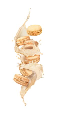 macaroons fly with a splash on a white background Stock fotó