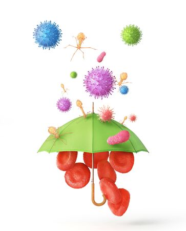 Biology protection. Blood cells under umbrella isolated on a white. 3d illustration 写真素材
