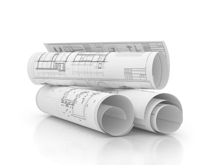 blueprints construction projects, plans in row isolated 3d illustration