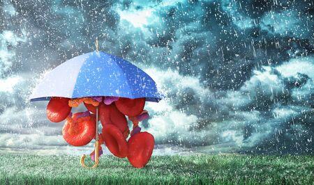 Biology protection. Blood cells under umbrella on the storm background. 3d illustration