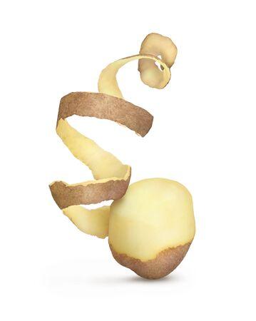 épluchures de pommes de terre sur fond blanc
